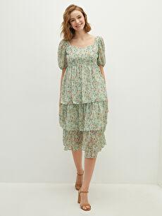 LCW VISION Kare Yaka Çiçek Baskılı Kısa Kollu Şifon Kumaş Kadın Elbise