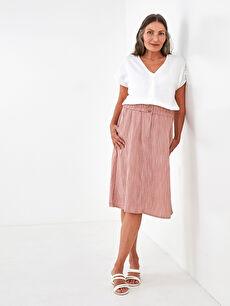 LCW GRACE Elastic Waist Straight Pocket Detailed A-Cut Linen Fabric Women's Skirt