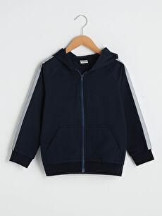 Kapüşonlu Uzun Kollu Erkek Çocuk Fermuarlı Sweatshirt