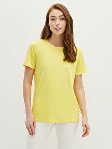 LCW BASIC LCW GREEN Crew Neck Straight Short Sleeve Women's T-Shirt