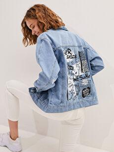 Gömlek Yaka Baskılı Uzun Kollu Cep Detaylı Kadın Rodeo Jean Ceket