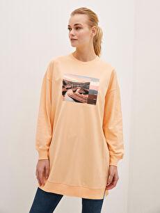 LCW CLASSIC Crew Neck Printed Long Sleeve Women's Tunic
