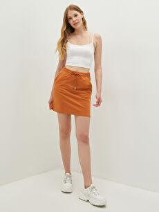 LCW CASUAL Elastic Waist Pocket Detailed Straight Women's Tube Skirt