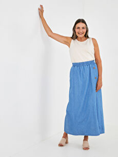 LCW GRACE Elastic Waist Wide Fit Button Detailed Women Jean Skirt
