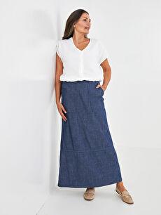 LCW GRACE Elastic Waist Straight Pocket Detailed Women's Jean Skirt