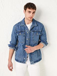 Standart Kalıp Erkek Jean Ceket