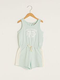 Crew Neck Printed Cotton Girl Short Jumpsuit