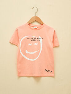 Crew Neck Printed Short Sleeve Organic Cotton Boy T-Shirt