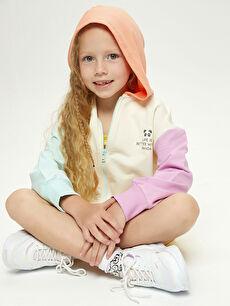 LCW GREEN Kapüşonlu Baskılı Uzun Kollu Organik Pamuklu Kız Çocuk Fermuarlı Sweatshirt