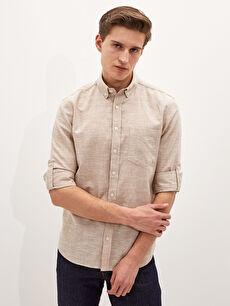 LCW BASIC Regular Fit Uzun Kollu Keten Erkek Gömlek
