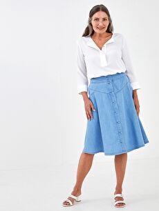 LCW GRACE Elastic Waist Straight A-Cut Women Jean Skirt