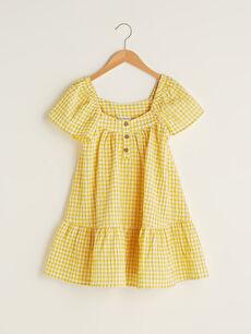 Kare Yaka Ekose Kısa Kollu Kız Çocuk Elbise