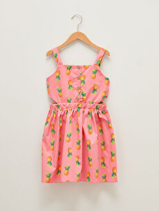 Square Neck Patterned Strappy Poplin Girl Dress