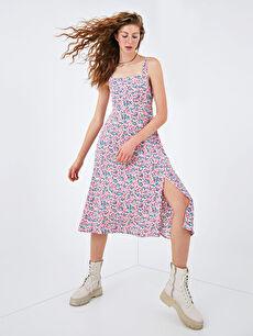 XSIDE Kare Yaka Askılı Çiçek Baskılı Viskon Kadın Elbise