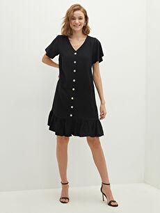 LCW VISION V Yaka Fırfır Detaylı Kısa Kollu Düğme Kapamalı Kadın Elbise
