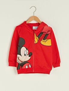 Kapüşonlu Uzun Kollu Mickey Mouse Baskılı Pamuklu Erkek Bebek Fermuarlı Sweatshirt