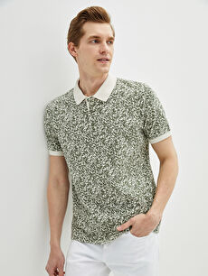 LCW CLASSIC LCW GREEN Organic Cotton Polo Neck Short Sleeve Patterned Men's T-Shirt