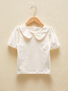 LCW GREEN Bebe Yaka Kısa Kollu Basic Organik Pamuklu Kız Bebek Tişört