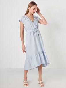 LCW VISION Kruvaze V Yaka Kemer Detaylı Kısa Kollu Keten Kadın Elbise