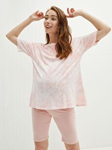 Crew Neck Tie-Dye Patterned Short Sleeve Maternity T-Shirt