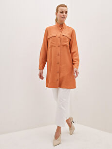 LCW CLASSIC Women's Tunic With Stand Collar Straight Pocket Detailed Long Sleeve