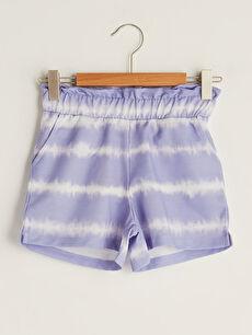 Elastic Waist Batik Patterned Girl's Shorts
