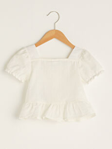 Square Neck Short Sleeve Button Detailed Baby Girl Blouse