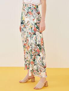 LCW CLASSIC Elastic Waist Patterned A-Cut Frill Detailed Viscose Women's Skirt