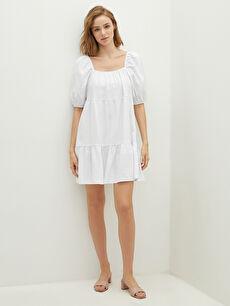 LCW VISION Kare Yaka Düz Kısa Kollu Keten Görünümlü Kumaş Kadın Elbise