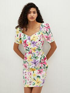 LCW CASUAL Kare Yaka Çiçekli Kısa Kollu Pamuklu Kadın Elbise