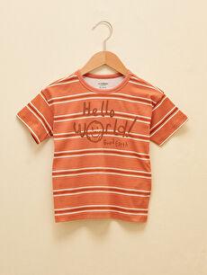 LCW GREEN Crew Neck Short Sleeve Printed Organic Cotton Baby Boy T-Shirt