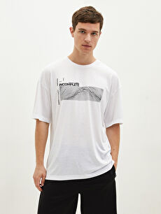 LCW SPORTS Crew Neck Short Sleeve Printed Combed Cotton Men's T-Shirt