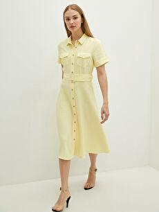 LCW VISION Düğmeli Gömlek Yaka Beli Kemerli Kısa Kollu Kadın Elbise