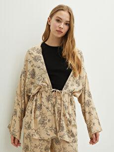 LCW GREEN Tie Waist Patterned Long Sleeve Crinkle Fabric Women's Kimono