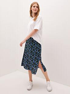 LCW CASUAL Elastic Waist Floral Flower Poplin Woman Skirt