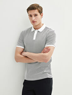 LCW VISION Polo Neck Short Sleeve Patterned Men's T-Shirt
