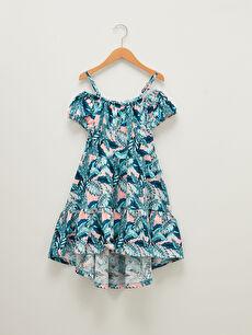 Patterned Off the Shoulder Cotton Girl Dress