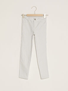 Çizgili Pamuklu Kız Çocuk Pantolon