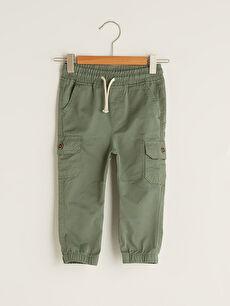 Beli Lastikli Basic Pamuklu Erkek Bebek Jogger Pantolon
