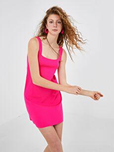 XSIDE Kare Yaka Düz Askılı A Kesim Kadın Triko Elbise
