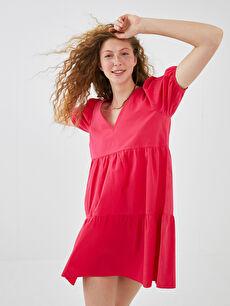 XSIDE V Yaka Düz Kısa Kollu Pamuklu Kadın Elbise