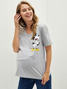 V Yaka Mickey Mouse Baskılı Kısa Kollu Hamile Tişört