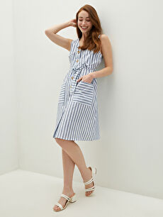 LCW CLASSIC V Yaka Çizgili Kolsuz Cep Detaylı Pamuklu Kadın Elbise