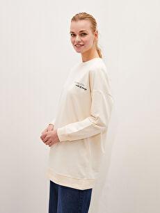 MODEST Crew Neck Printed Long Sleeve Oversized Tunic for Women