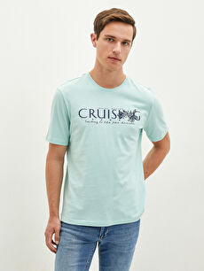 LCW CLASSIC Crew Neck Short Sleeve Printed Combed Cotton Men's T-Shirt