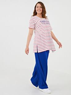 LCW CLASSIC U Yaka Baskılı Kısa Kollu Pamuklu Kadın Tişört