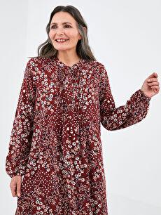 LCW GRACE Hakim Yaka Çiçek Baskılı Uzun Kollu Belmando Kumaş Kadın Elbise