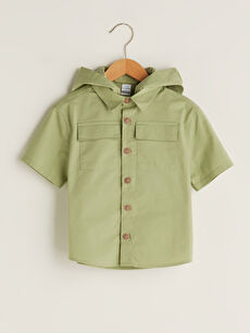Basic Short Sleeve Hooded Baby Boy Shirt