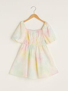 Kare Yaka Batik Desenli Balon Kol Poplin Kız Çocuk Elbise