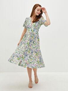 LCW CLASSIC V Yaka Desenli Kısa Kollu Önden Düğmeli Viskon Kadın Elbise